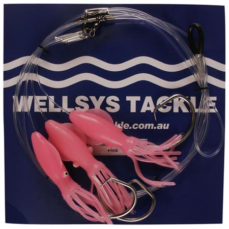 Glow Pink Rig with 13/0 hooks
